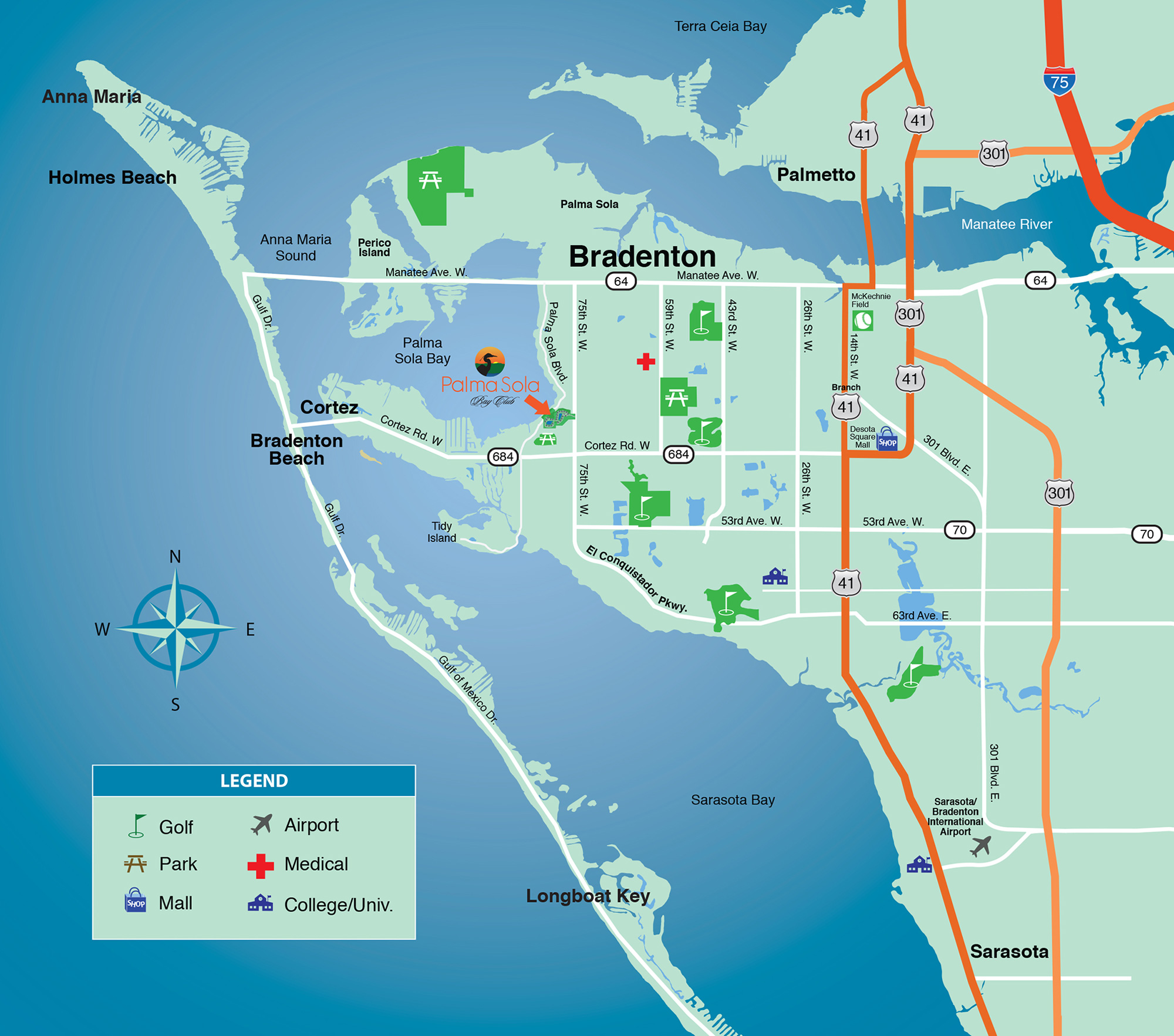 Area map of Bradenton and Sarasota, Florida near the Palma Sola Bay Club condominium.