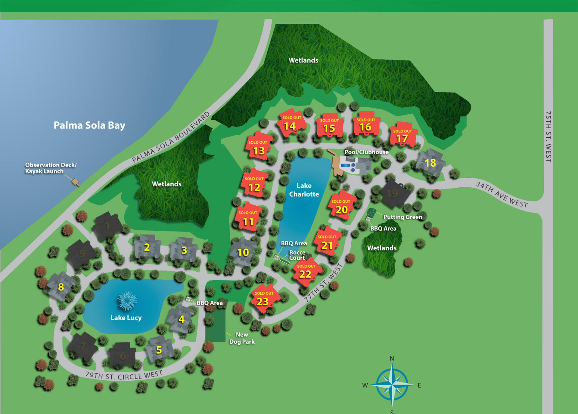 palma sola bay club site map