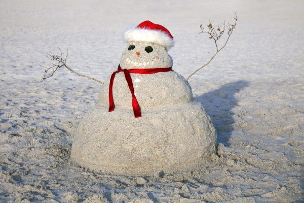 winter in florida - snowman in the sand